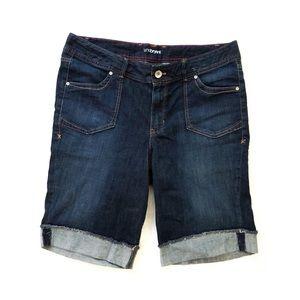 Lane Bryant Stretch Denim Cuffed Bermuda Shorts